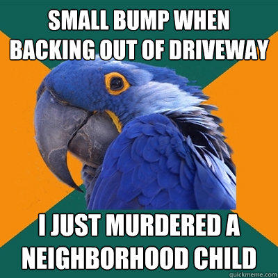 SMALL BUMP WHEN BACKING OUT OF DRIVEWAY I JUST MURDERED A NEIGHBORHOOD CHILD - SMALL BUMP WHEN BACKING OUT OF DRIVEWAY I JUST MURDERED A NEIGHBORHOOD CHILD  Paranoid Parrot
