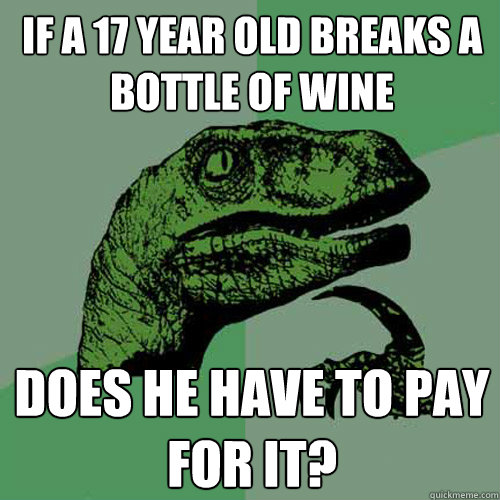If a 17 year old breaks a bottle of wine Does he have to pay for it?  Philosoraptor
