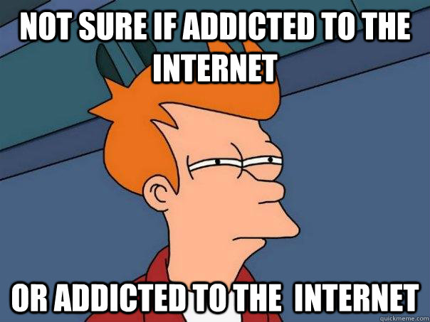 Not sure if addicted to the Internet Or addicted to the  internet - Not sure if addicted to the Internet Or addicted to the  internet  Futurama Fry