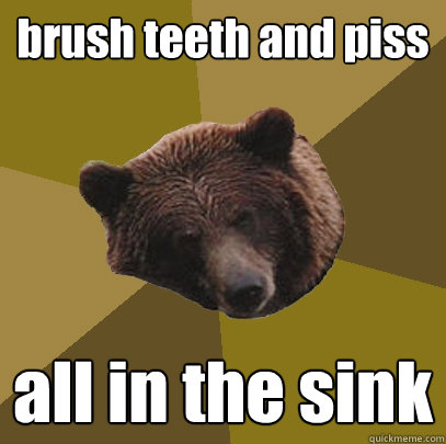 brush teeth and piss all in the sink  Lazy Bachelor Bear