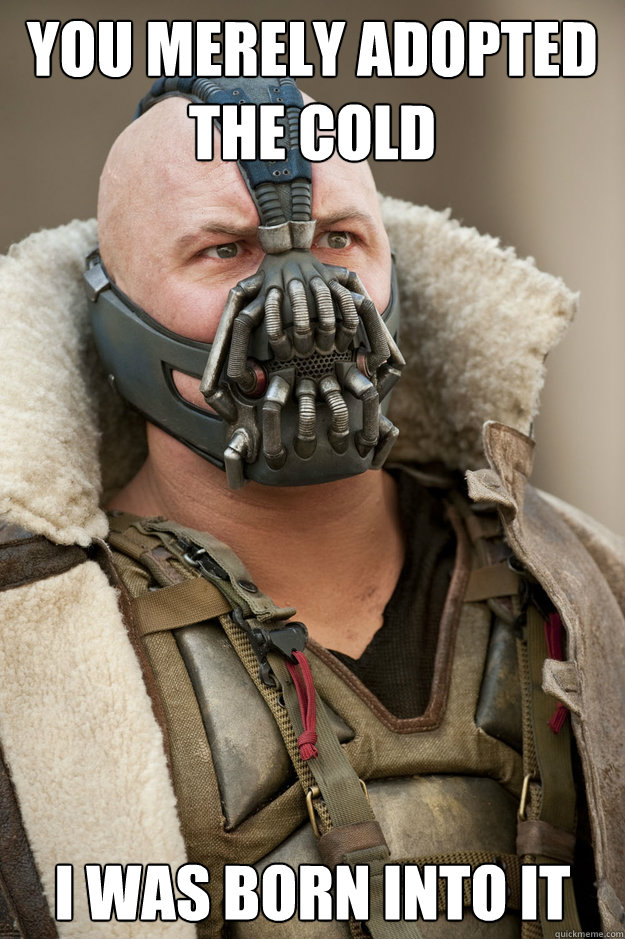 You merely adopted the cold I was born into it