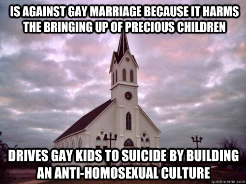 is against gay marriage because it harms the bringing up of precious children drives gay kids to suicide by building an anti-homosexual culture