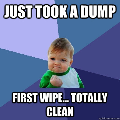 just took a dump first wipe... totally clean - just took a dump first wipe... totally clean  Success Kid