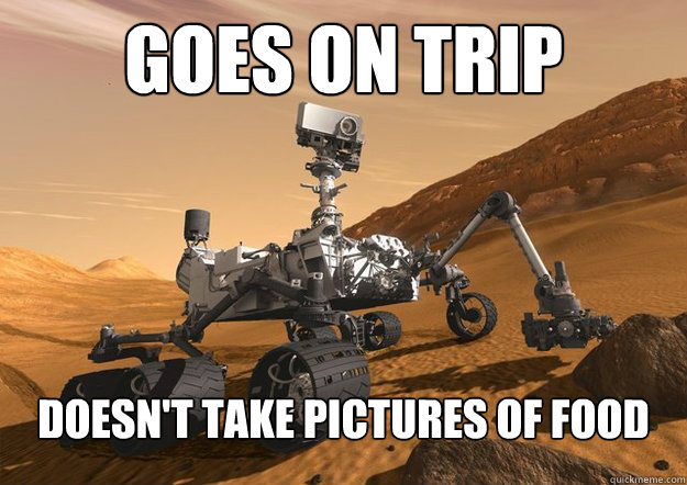 GOES ON TRIP Doesn't take pictures of food - GOES ON TRIP Doesn't take pictures of food  Good Guy Mars Rover