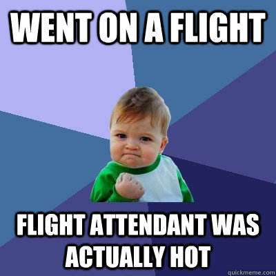 Went on a flight flight attendant was actually hot - Went on a flight flight attendant was actually hot  Success Kid