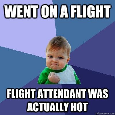 Went on a flight flight attendant was actually hot - Went on a flight flight attendant was actually hot  Success Kid