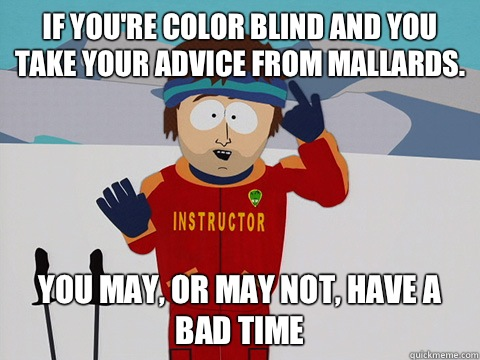 If you're color blind and you take your advice from mallards. you may, or may not, have a bad time - If you're color blind and you take your advice from mallards. you may, or may not, have a bad time  Youre gonna have a bad time