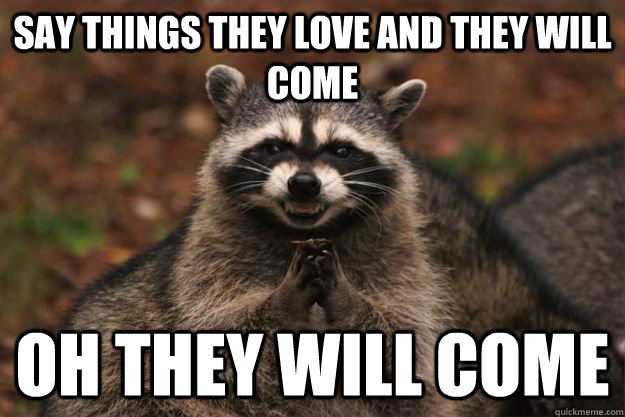 Say things they love and they will come  oh they will come  - Say things they love and they will come  oh they will come   Evil Plotting Raccoon