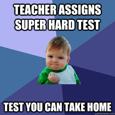 Teacher Assigns Super hard test test you can take home - Teacher Assigns Super hard test test you can take home  Success Kid