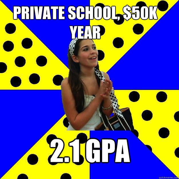Private school, $50k year 2.1 GPA - Private school, $50k year 2.1 GPA  Sheltered Suburban Kid