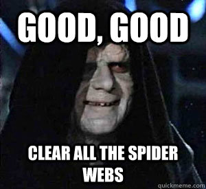 Good, good clear all the spider webs