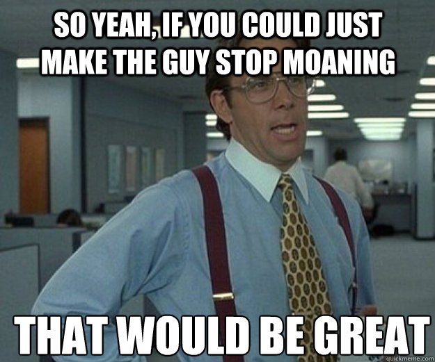 So yeah, if you could just make the guy stop moaning THAT WOULD BE GREAT - So yeah, if you could just make the guy stop moaning THAT WOULD BE GREAT  that would be great