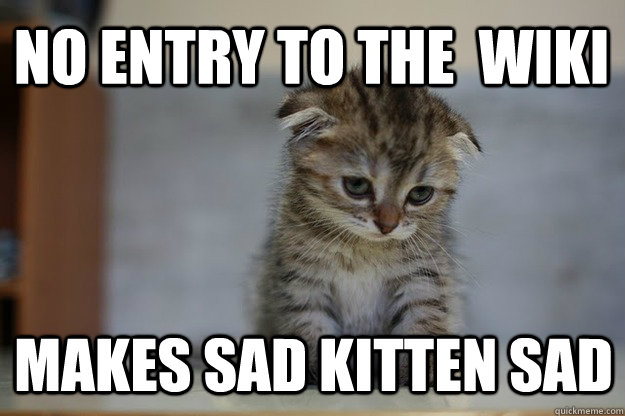 no entry to the  wiki makes sad kitten sad  Sad Kitten