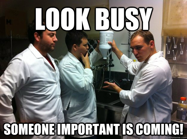 look busy Someone important is coming!