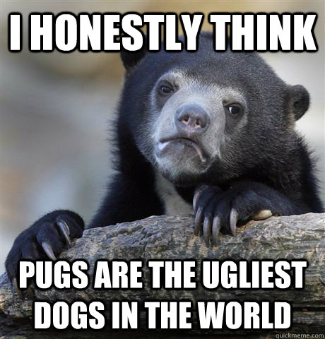 I honestly think Pugs are the ugliest dogs in the world - I honestly think Pugs are the ugliest dogs in the world  Confession Bear