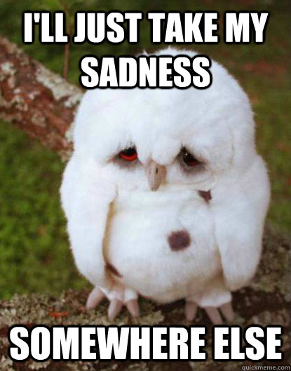 i'll just take my sadness somewhere else - i'll just take my sadness somewhere else  Depressed Baby Owl