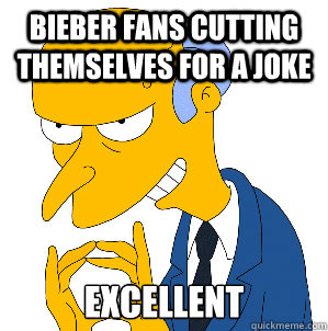 Bieber fans cutting themselves for a joke Excellent