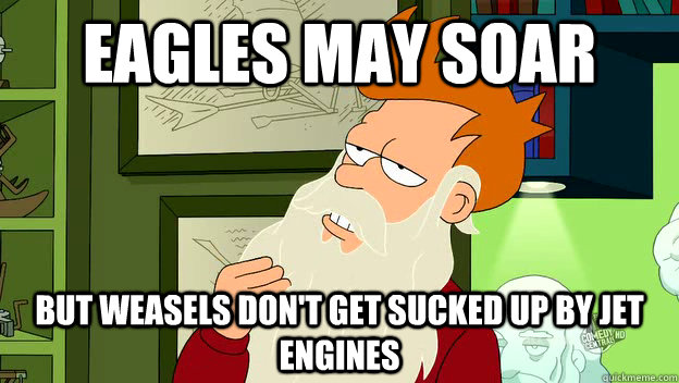 eagles may soar but weasels don't get sucked up by jet engines  - eagles may soar but weasels don't get sucked up by jet engines   philosophy fry