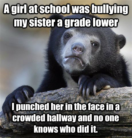 A girl at school was bullying my sister a grade lower I punched her in the face in a crowded hallway and no one knows who did it. - A girl at school was bullying my sister a grade lower I punched her in the face in a crowded hallway and no one knows who did it.  Confession Bear