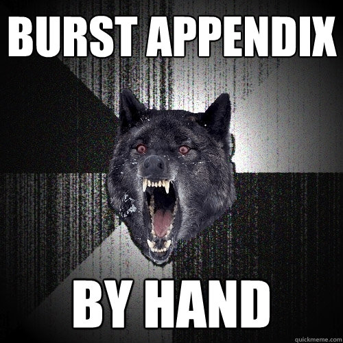 burst appendix  by hand - burst appendix  by hand  Insanity Wolf