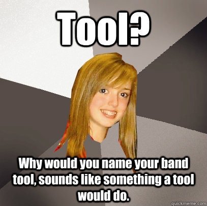 Tool? Why would you name your band tool, sounds like something a tool would do. - Tool? Why would you name your band tool, sounds like something a tool would do.  Musically Oblivious 8th Grader
