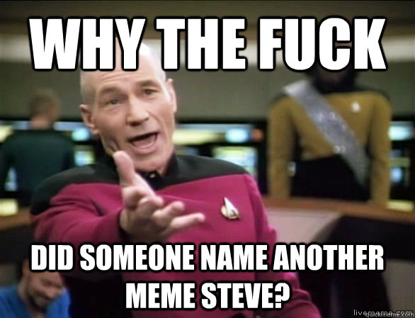 Why the fuck Did someone name another meme Steve? - Why the fuck Did someone name another meme Steve?  Annoyed Picard HD
