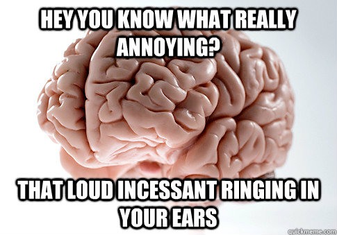 HEY YOU KNOW WHAT REALLY ANNOYING? THAT LOUD INCESSANT RINGING IN YOUR EARS   - HEY YOU KNOW WHAT REALLY ANNOYING? THAT LOUD INCESSANT RINGING IN YOUR EARS    Scumbag Brain