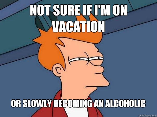Not sure if I'm on vacation Or slowly becoming an alcoholic - Not sure if I'm on vacation Or slowly becoming an alcoholic  Futurama Fry