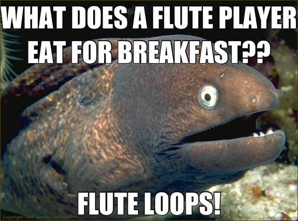 WHAT DOES A FLUTE PLAYER EAT FOR BREAKFAST?? FLUTE LOOPS! - WHAT DOES A FLUTE PLAYER EAT FOR BREAKFAST?? FLUTE LOOPS!  Bad Joke Eel