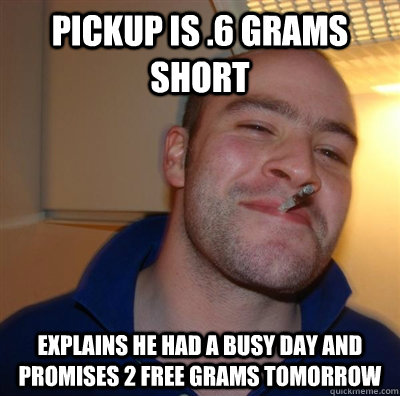 Pickup is .6 grams short Explains he had a busy day and promises 2 free grams tomorrow - Pickup is .6 grams short Explains he had a busy day and promises 2 free grams tomorrow  GGG plays SC