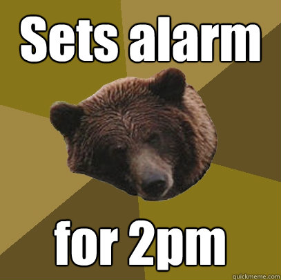 Sets alarm for 2pm  Lazy Bachelor Bear