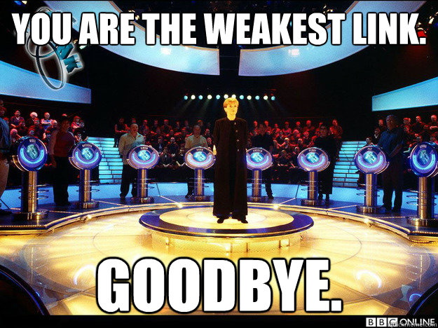 You are The Weakest Link. Goodbye.  - You are The Weakest Link. Goodbye.   You are The Weakest Link.