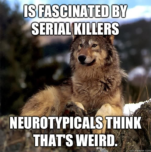Is fascinated by serial killers Neurotypicals think that's weird.  Aspie Wolf