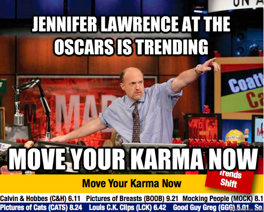 Jennifer lawrence at the oscars is trending move your karma now  Mad Karma with Jim Cramer