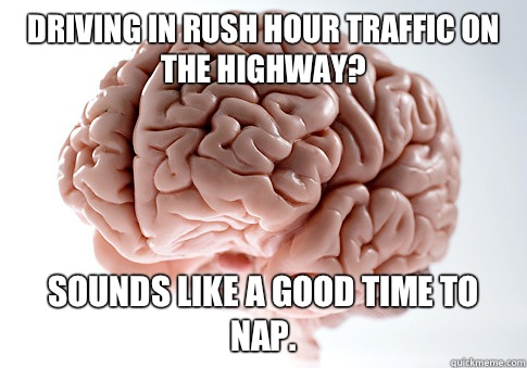 Driving in rush hour traffic on the highway? Sounds like a good time to nap. - Driving in rush hour traffic on the highway? Sounds like a good time to nap.  Scumbag Brain