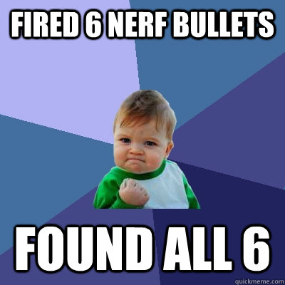 Fired 6 nerf bullets found all 6 - Fired 6 nerf bullets found all 6  Success Kid