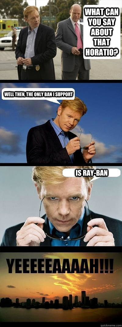 What can you say about that Horatio? Well then, the only ban i support is Ray-Ban  Horatio Caine