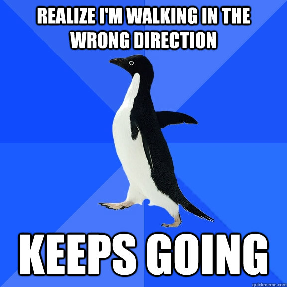 Realize i'm walking in the wrong direction Keeps going - Realize i'm walking in the wrong direction Keeps going  Socially Awkward Penguin