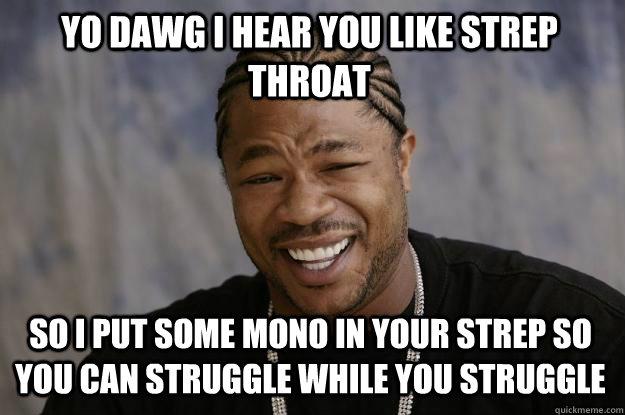 YO DAWG I HEAR YOU LIKE STREP THROAT SO I PUT SOME MONO IN YOUR STREP SO YOU CAN STRUGGLE WHILE YOU STRUGGLE  Xzibit meme