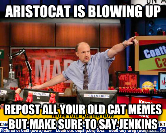 Aristocat is blowing up repost all your old cat memes but make sure to say jenkins  Mad Karma with Jim Cramer