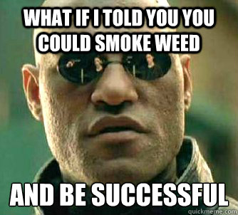 What if I told you you could smoke weed AND be successful - What if I told you you could smoke weed AND be successful  Matrix Morpheus