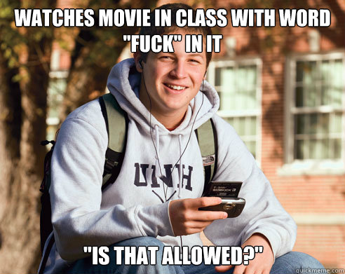 Watches movie in class with word