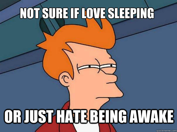 not sure if love sleeping or just hate being awake - not sure if love sleeping or just hate being awake  Futurama Fry