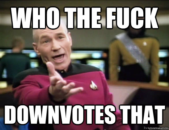 who the fuck downvotes that - who the fuck downvotes that  Annoyed Picard HD
