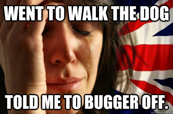 Went to walk the dog Told me to bugger off.  British First World Problems