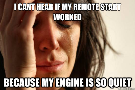 I cant hear if my remote start worked because my engine is so quiet - I cant hear if my remote start worked because my engine is so quiet  First World Problems