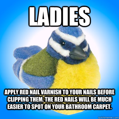 Ladies APPLY red nail varnish to your nails before clipping them. The red nails will be much easier to spot on your bathroom carpet. - Ladies APPLY red nail varnish to your nails before clipping them. The red nails will be much easier to spot on your bathroom carpet.  Top Tip Tit