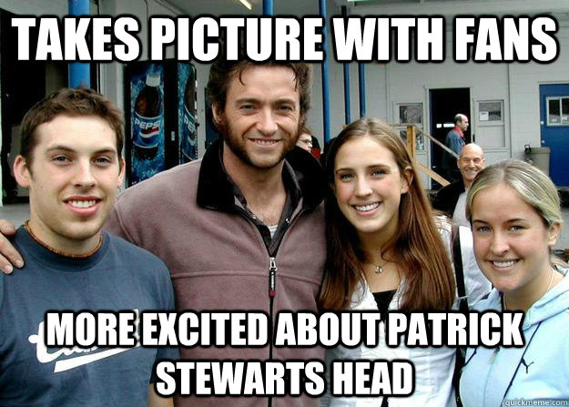 takes picture with fans more excited about patrick stewarts head - takes picture with fans more excited about patrick stewarts head  overshadowed actor
