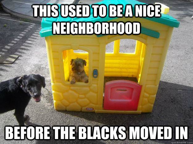 This used to be a nice neighborhood Before the blacks moved in  Upper Class White Dog