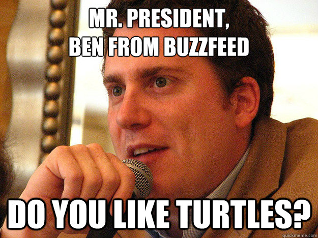 MR. PRESIDENT, BEN FROM BUZZFEED Do you like turtles?  Ben from Buzzfeed